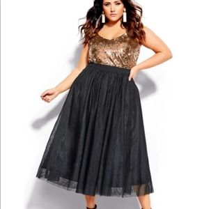 City Chic Midi Skirt Solid Black Tulle Size 16